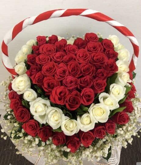 Bó hoa sinh nhật hình trái tim