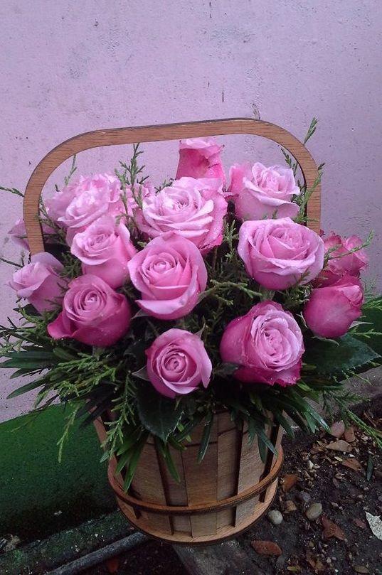Bó hoa hồng tím hồng