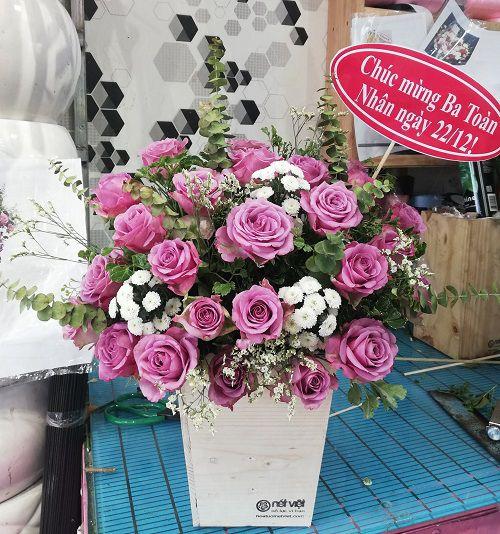 hoa hộp hoa hồng tím